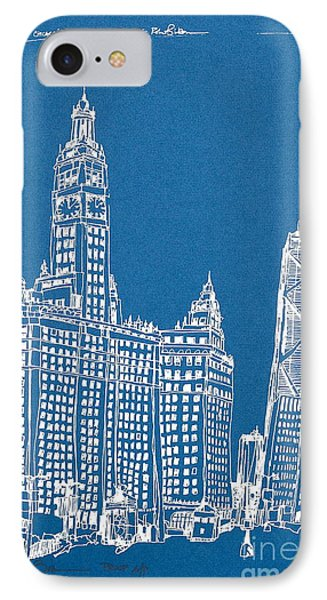 Chicago Wrigley And Hancock Bldgs Silkscreen Print IPhone Case