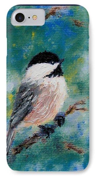 Chickadee Fine Art Card Brushstroke Enhanced Detail Print IPhone Case