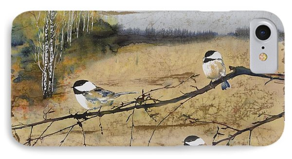 Chickadees And A Row Of Birch Trees IPhone Case