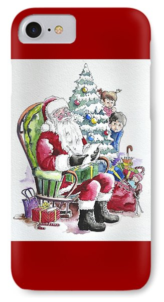 Childre Sneaking Around Santa IPhone Case