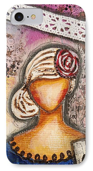 Choose Your Own Story Inspirational Mixed Media Folk Art  IPhone Case