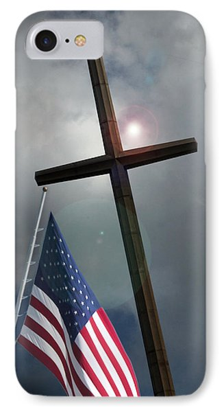 Christian Cross And Us Flag IPhone Case