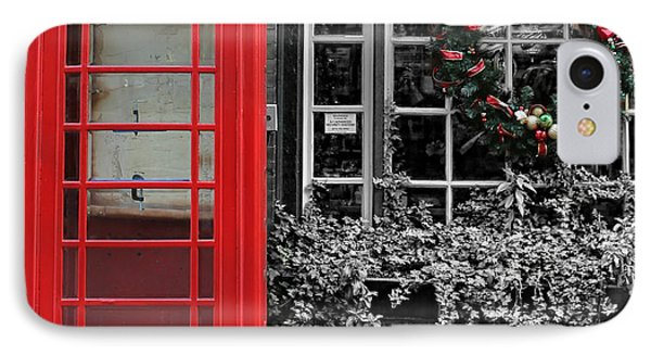 Christmas - The Red Telephone Box And Christmas Wreath IIi IPhone Case