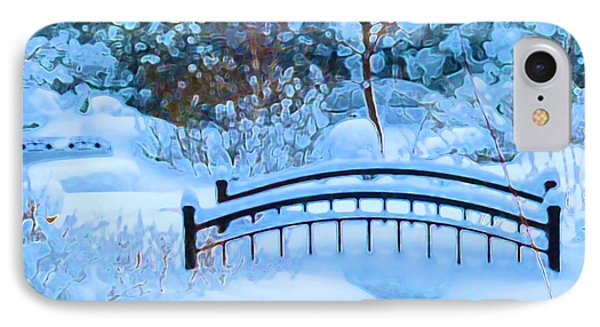 Christmas Eve Storm And The Little Garden Bridge IPhone Case