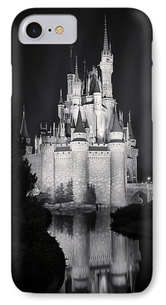 Cinderella's Castle Reflection Black And White IPhone Case