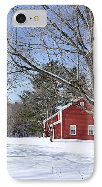 Classic Vermont Red House In Winter IPhone Case