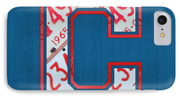 Cleveland Indians Baseball Team Vintage Logo Recycled Ohio License Plate Art IPhone Case
