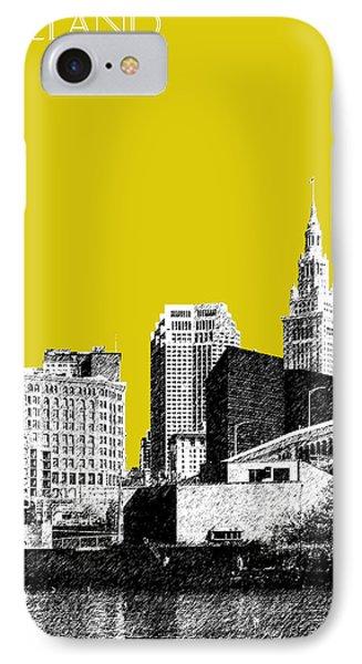 Mustard iPhone 8 Case - Cleveland Skyline 3 - Mustard by DB Artist