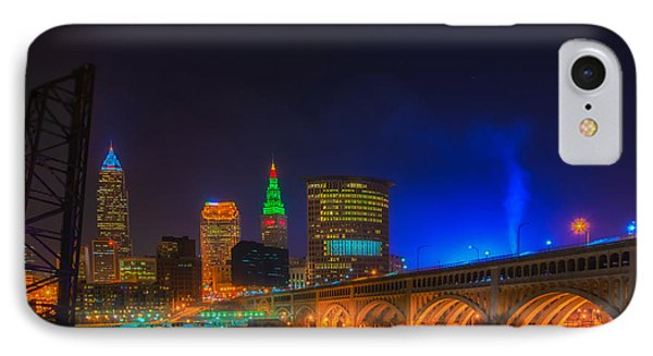 Cleveland Skyline At Christmas IPhone Case