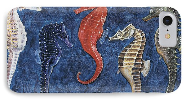 Close-up Of Five Seahorses Side By Side  IPhone Case
