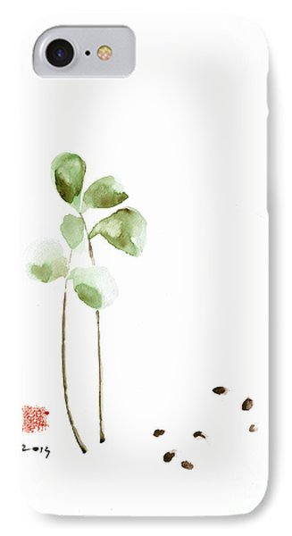 Coffee Cafe Plant And Beans Brown Green Watercolor Painting Kitchen Art IPhone Case