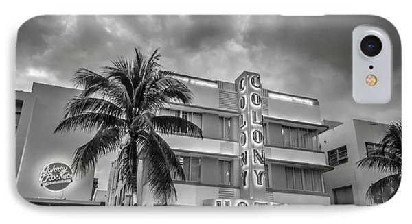 Colony And Johnny Rockets Art Deco District Sobe Miami - Black And White IPhone Case