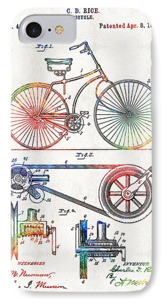 Bicycle iPhone 8 Case - Colorful Bike Art - Vintage Patent - By Sharon Cummings by Sharon Cummings