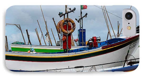 colorful fishing boat with Portuguese flag  IPhone Case