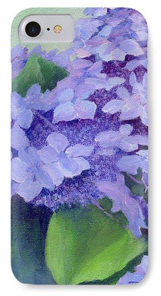 Colorful Hydrangeas Original Purple Floral Art Painting Garden Flower Floral Artist K. Joann Russell IPhone Case