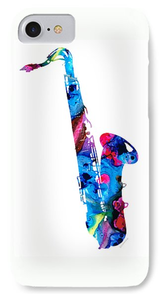 Music iPhone 8 Case - Colorful Saxophone 2 By Sharon Cummings by Sharon Cummings