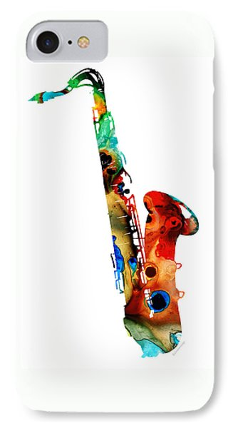 Rock And Roll iPhone 8 Case - Colorful Saxophone By Sharon Cummings by Sharon Cummings
