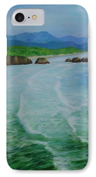 Colorful Seascape Oregon Cannon Beach Ecola Landscape Art Painting IPhone Case