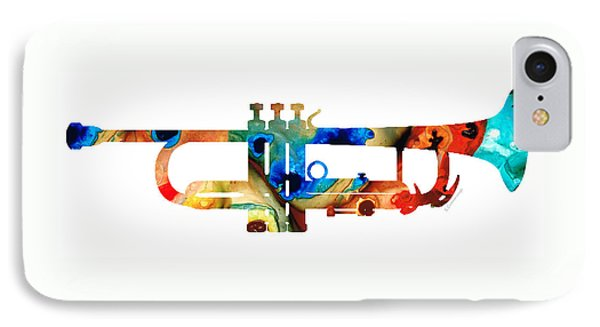 Music iPhone 8 Case - Colorful Trumpet Art By Sharon Cummings by Sharon Cummings