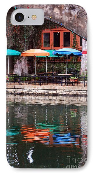 Colorful Umbrellas Reflected In Riverwalk Under Footbridge San Antonio Texas Vertical Format IPhone Case