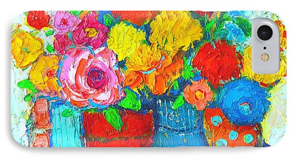 Colorful Vases And Flowers - Abstract Expressionist Painting IPhone Case