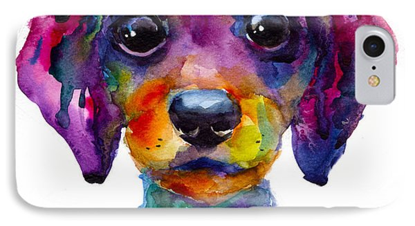 Colorful Whimsical Daschund Dog Puppy Art IPhone Case