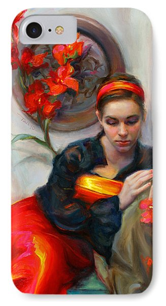 Common Threads - Divine Feminine In Silk Red Dress IPhone Case