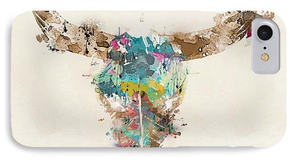 Bull iPhone 8 Case - Cow Skull by Bri Buckley