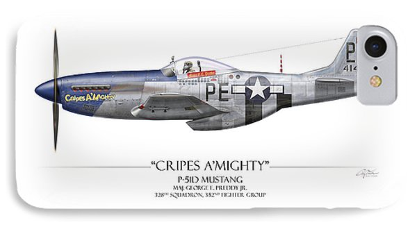 Cripes A Mighty P-51 Mustang - White Background IPhone Case