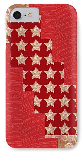 Cross Through Sparkle Stars On Red Silken Base IPhone Case
