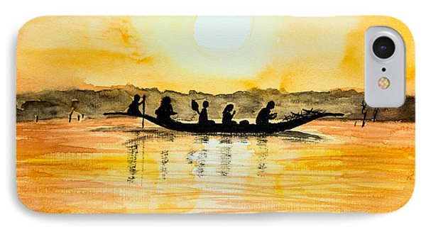 Crossing The Lake In Mali IPhone Case