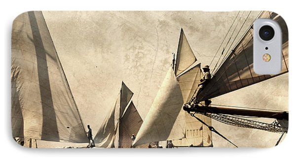 A Vintage Processed Image Of A Sail Race In Port Mahon Menorca - Crowded Sea IPhone Case