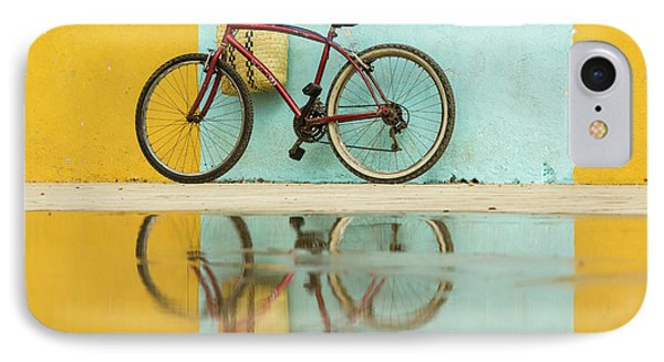 Bicycle iPhone 8 Case - Cuba, Trinidad Bicycle And Reflection by Brenda Tharp