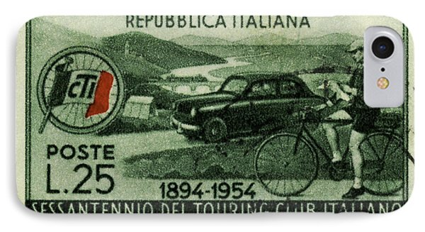 Cycling And Driving Italian Touring Club Stamp IPhone Case