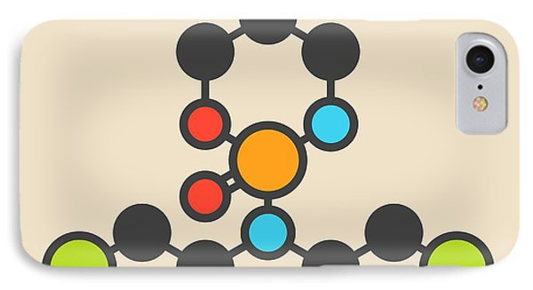 Mustard iPhone 8 Case - Cyclophosphamide Cancer Drug Molecule by Molekuul