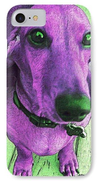 Dachshund - Purple People Greeter IPhone Case