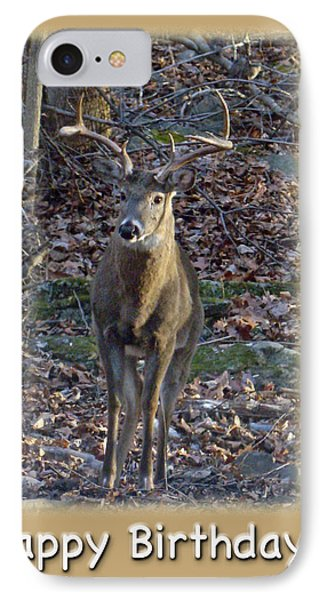 iPhone 8 Case - Dad Birthday Greeting Card - Whitetail Deer Buck by Mother Nature