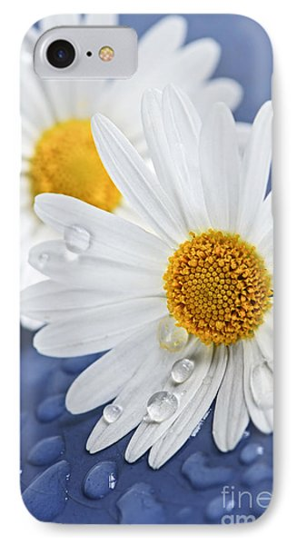Daisy Flowers With Water Drops IPhone Case