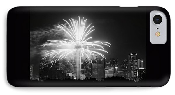 Dallas Reunion Tower Fireworks Bw 2014 IPhone Case