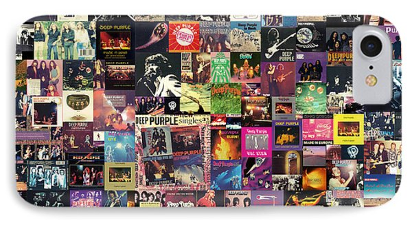 Music iPhone 8 Case - Deep Purple Collage by Zapista