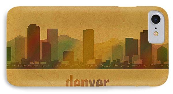 Denver Colorado Skyline Watercolor On Parchment IPhone Case