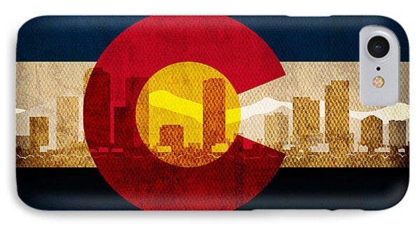 Denver Skyline Silhouette Of Colorado State Flag Canvas IPhone Case