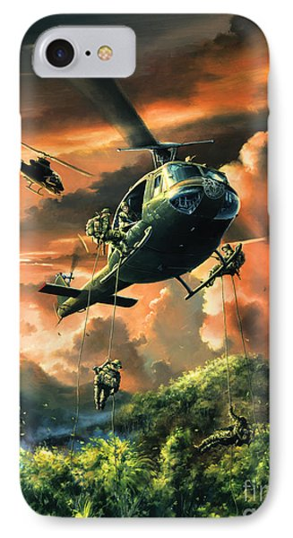 Helicopter iPhone 8 Case - Descent Into The A Shau Valley by Randy Green