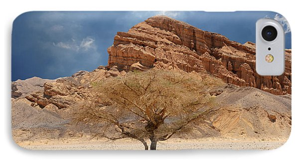 Desert Tree And Mountains IPhone Case