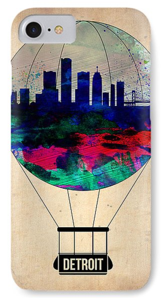 City Scenes iPhone 8 Case - Detroit Air Balloon by Naxart Studio