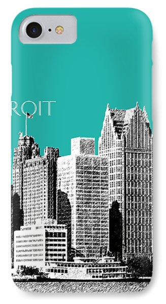 Detroit Skyline 3 - Teal IPhone Case
