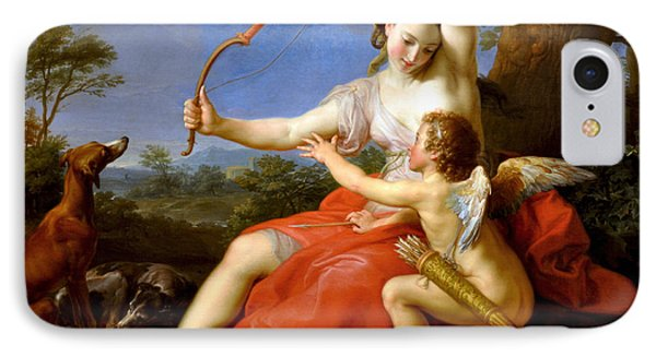 IPhone Case featuring the digital art Diana And Cupid by Pompeo Batoni