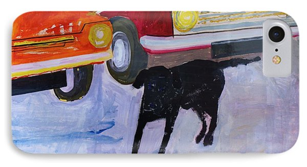 Dog At The Used Car Lot, Rex With Red Car Gouache On Paper IPhone Case