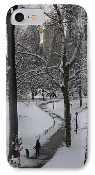 Dog Walking In A Snowy Central Park IPhone Case