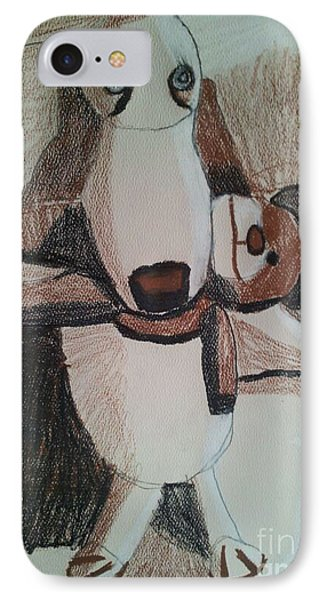 IPhone Case featuring the painting Dog With Teddy  by Epic Luis Art